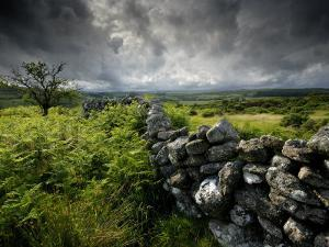Dark Storm Clouds Above Stone Wall Near Combestone Tor, Devon, Dartmoor Np, UK by Ross Hoddinott