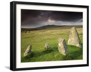 Merrivale Stone Row, Stormy Evening, Dartmoor Np, Devon, Uk. September 2008 by Ross Hoddinott