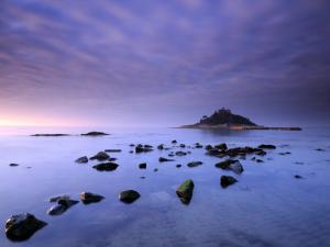 St Michael's Mount at Sunrise, from Marazion Beach, Cornwall, Uk. November 2008 by Ross Hoddinott