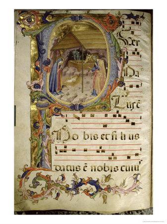 Graduale No.5 Historiated Initial P Depicting the Nativity