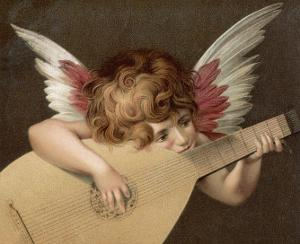 """""""Puto Che Suona La Guitarra"""", a Young Angel Plays the Guitar by Rosso Fiorentino (Battista di Jacopo)"""
