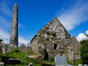 Round Tower and Cathedral in St Declan's 5th Century Monastic Site, Ardmore, Ireland