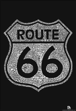 Route 66 Towns Text Poster