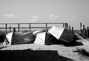 Row Boats on Ocean Beach Fire Island New York B/W