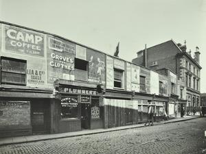 Row of Shops with Advertising Hoardings, Balls Pond Road, Hackney, London, September 1913