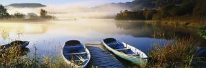Rowboats at the Lakeside, English Lake District, Grasmere, Cumbria, England
