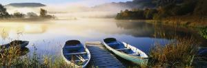 Rowboats at the Lakeside, English Lake District, Grasmere, Cumbria, England