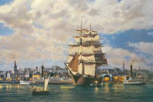 'Ocean Monarch' leaving New York by Roy Cross