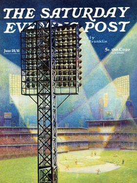 """Baseball Stadium at Night,"" Saturday Evening Post Cover, June 28, 1941 by Roy Hilton"