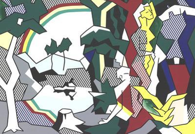 Landscape With Figures and Rainbow (No Text) by Roy Lichtenstein