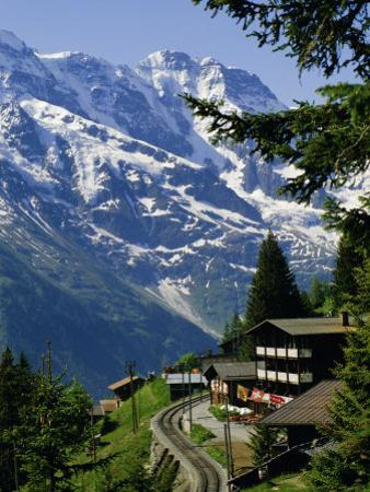 Alpine Railway, Murren, Jungfrau Region, Bernese Oberland, Swiss Alps, Switzerland by Roy Rainford