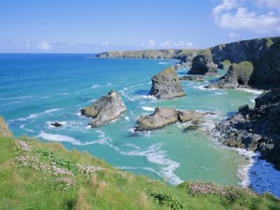Bedruthan Steps, North Coast, Cornwall, England, UK by Roy Rainford