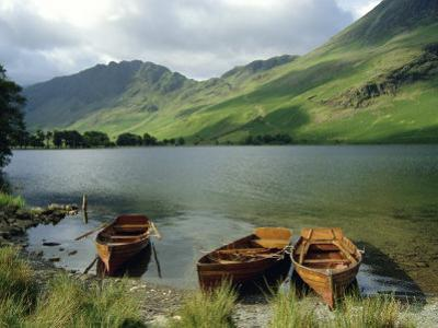 Boats on the Lake, Buttermere, Lake District National Park, Cumbria, England, UK by Roy Rainford