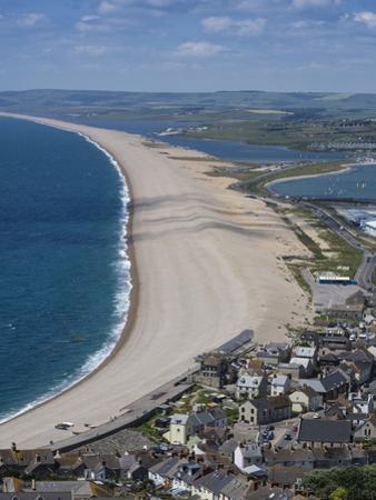 Chesil Beach and the Fleet Lagoon from Portland, Jurassic Coast, UNESCO World Heritage Site by Roy Rainford