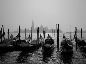 Gondolas and the Church of San Giorgio Maggiore, Venice, Veneto, Italy by Roy Rainford