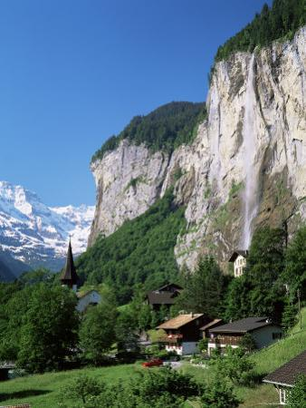 Lauterbrunnen and Staubbach Falls, Jungfrau Region, Switzerland by Roy Rainford
