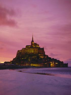 Mont Saint-Michel (Mont St. Michel) at Sunset, La Manche Region, Normandy, France, Europe by Roy Rainford