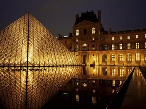 Musee Du Louvre and Pyramide, Paris, France by Roy Rainford