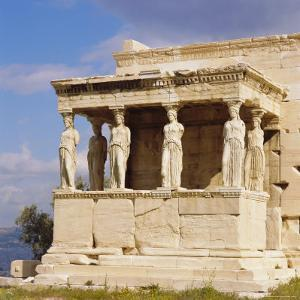 Porch of the Caryatids with Figures of the Six Maidens, Erechtheion, Acropolis, Athens, Greece by Roy Rainford