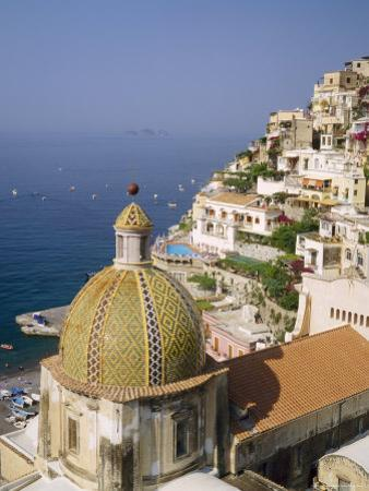 Tiled Dome of a Church Above Positano, Campania, Italy by Roy Rainford