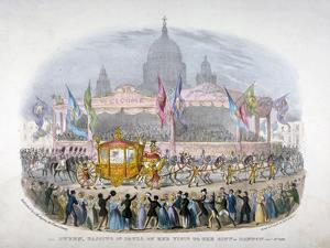 Royal Coach Passing St Paul's Cathedral, City of London, 1837