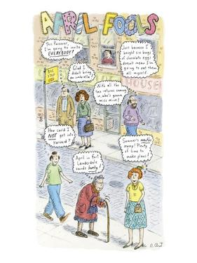 2-COLUMN COLOR: City sidewalk showing seven people with thought bubbles; e… - New Yorker Cartoon by Roz Chast