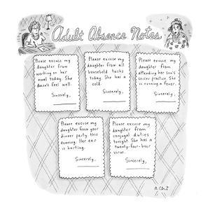 Adult Absence Notes - New Yorker Cartoon by Roz Chast