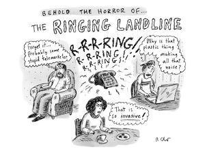 """""""Behold The Horror Of... The Ringing Landline"""" - New Yorker Cartoon by Roz Chast"""