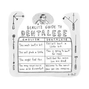 """""""Berlitz Guide to Dentalese.""""  - New Yorker Cartoon by Roz Chast"""