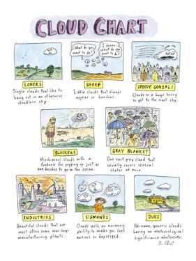 """Cloud field guide with descriptions for """"Loners, Sheep, blockers, Gray Bla…"""" - New Yorker Cartoon by Roz Chast"""
