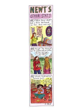 """(Color strip cartoon showing beat-nicks in the White House.  """"The Hobbit w…"""" - New Yorker Cartoon by Roz Chast"""
