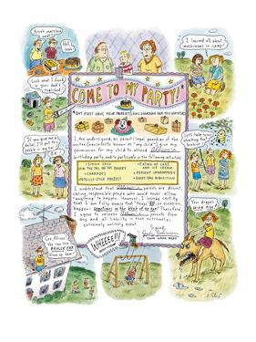 Come To My Party! - New Yorker Cartoon by Roz Chast