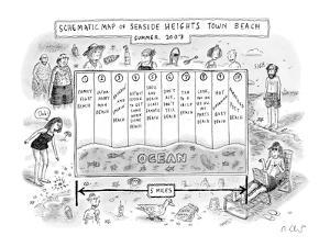 Different kinds of beaches for different kinds of unpleasant beach-goers. - New Yorker Cartoon by Roz Chast