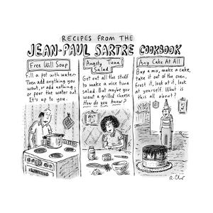 Jean-Paul Sartre Cookbook - New Yorker Cartoon by Roz Chast
