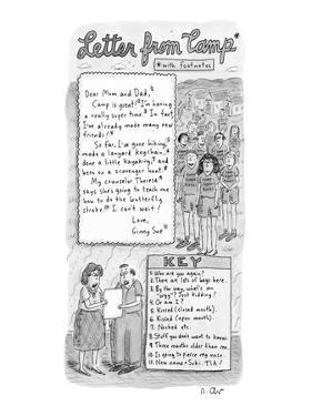 """""""Letter from Camp*"""" - New Yorker Cartoon by Roz Chast"""