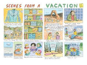 Multiple panels show scenes from a vacation in Nevada, Utah, and Colorado. - New Yorker Cartoon by Roz Chast