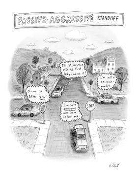 """Passive-Aggressive Standoff"" - New Yorker Cartoon by Roz Chast"