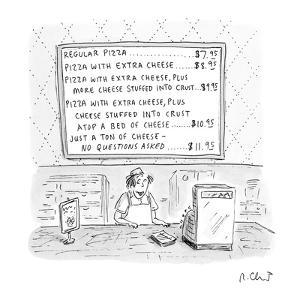 Pizza parlor's wall menu covers every possible instance of putting extra c? - New Yorker Cartoon by Roz Chast