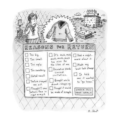 Reasons for Return - New Yorker Cartoon