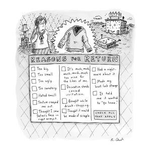 Reasons for Return - New Yorker Cartoon by Roz Chast