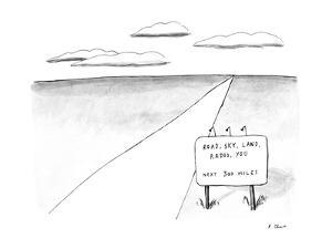 """Road sign saying """"Road, Sky, Land, Radio, You - next 300 miles"""". - New Yorker Cartoon by Roz Chast"""