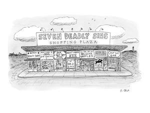 Seven Deadly Sins Shopping Plaza - New Yorker Cartoon by Roz Chast