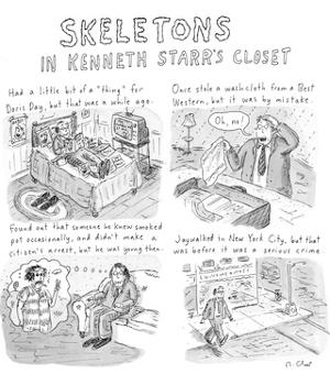Skeletons In Kenneth Starr's Closet - New Yorker Cartoon by Roz Chast