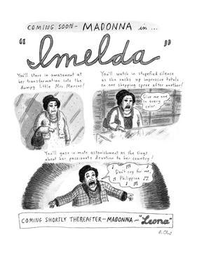 Spoof of Madonna starring in the movie musical version of 'Evita.' Three p… - New Yorker Cartoon by Roz Chast