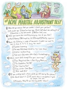 """The Acme Marital Adjustment Test"" - New Yorker Cartoon by Roz Chast"