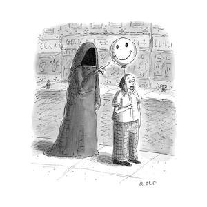 The Grim Reaper popping a smiley face balloon a man is holding. - New Yorker Cartoon by Roz Chast