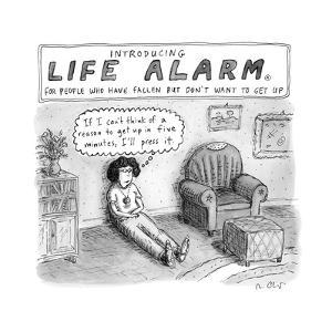 """""""TITLE: """"Introducing Life Alarm, for people who have fallen, but don't wan... - New Yorker Cartoon by Roz Chast"""