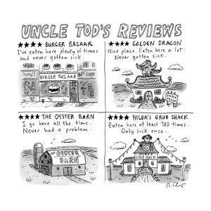 """""""Uncle Tod's Reviews"""" - New Yorker Cartoon by Roz Chast"""
