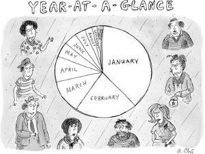 (Year at a Glance--a pie chart of the months of the year that get incremen? - New Yorker Cartoon by Roz Chast