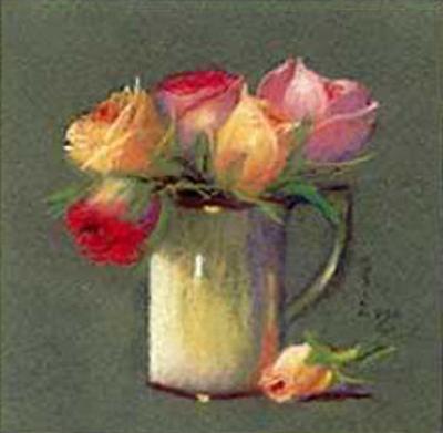 Vase with Rosebuds by Rozsika Hetyei-Ascenzi